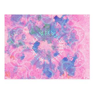 Rosa blaues Mandala-Aquarell-Blumenmuster Postkarte