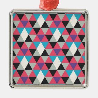Rosa blaues und weißes Dreieck-Muster Silbernes Ornament