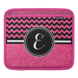 Rosa Bling Glitter-Zickzack personalisierter Fall Sleeve Für iPads