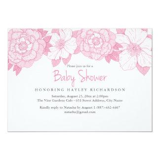Rosa blühende Babyparty-Einladung Karte