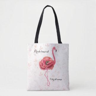 Rosa blühende Flamingo-Brautjungfern-Hochzeit Tasche
