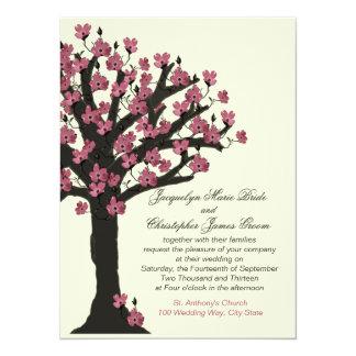 Rosa blühender Hartriegel-Baum-Hochzeit 14 X 19,5 Cm Einladungskarte
