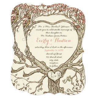 Rosa blüht rustikales Waldherz geformter Baum Karte