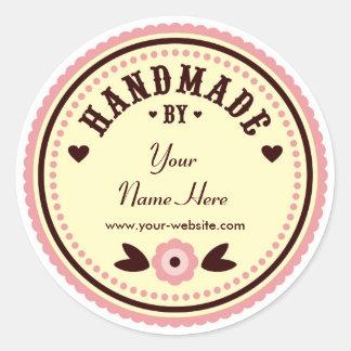 Rosa Blume handgemacht durch personalisierte Runder Aufkleber