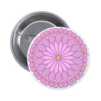 Rosa Blume Runder Button 5,1 Cm