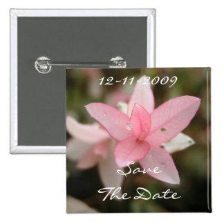 Rosa Blume Save the Date Quadratischer Button 5,1 Cm