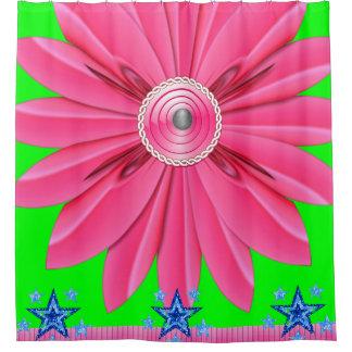 rosa Blume showercurtain blaue Sterne Duschvorhang