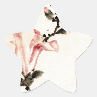 Rosa Blume Stern-Aufkleber