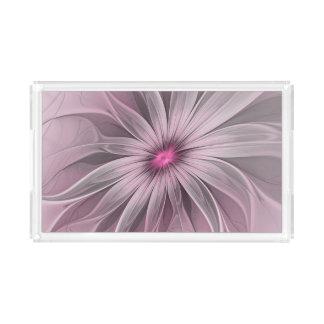 Rosa Blume wartete eine Bienen-abstrakte Acryl Tablett
