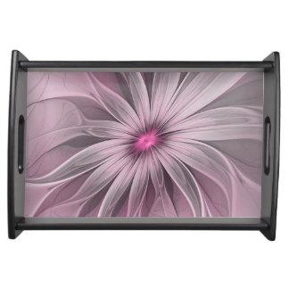 Rosa Blume wartete eine Bienen-abstrakte Tablett