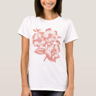 Rosa Blumen auf einer Niederlassung T-Shirt