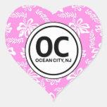 Rosa Blumen-Aufkleber der Herz OC-Ozean-Stadt-NJ