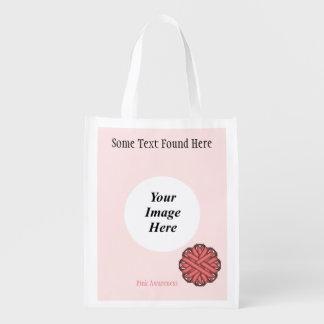 Rosa Blumen-Band-Schablone Wiederverwendbare Einkaufstasche
