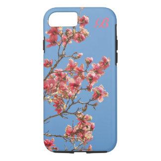 Rosa Blumen, blauer Hintergrund, Monogramm iPhone 8/7 Hülle