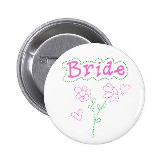 Rosa Blumen-Braut Runder Button 5,1 Cm