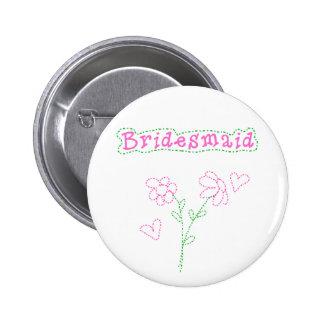Rosa Blumen-Brautjungfer Runder Button 5,7 Cm