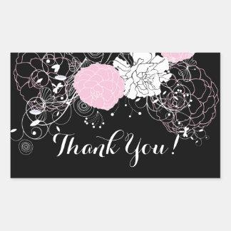 rosa Blumen danken Ihnen Aufkleber