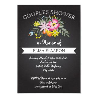 Rosa Blumen der Tafel, die Paardusche wedding sind 12,7 X 17,8 Cm Einladungskarte
