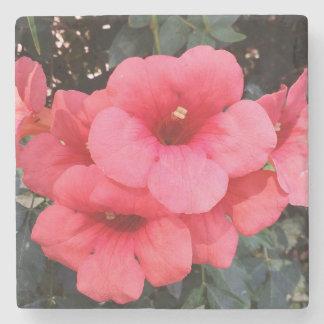 Rosa Blumen-Foto-Marmor-Stein-Untersetzer Steinuntersetzer