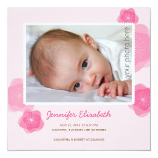 Rosa Blumen-Geburts-Mitteilung Individuelle Einladungen
