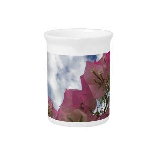 rosa Blumen gegen einen blauen Himmel Krug