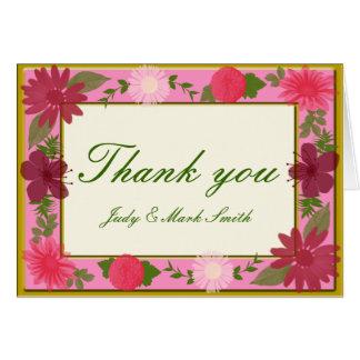 Rosa Blumen-Gewohnheit danken Ihnen Karten