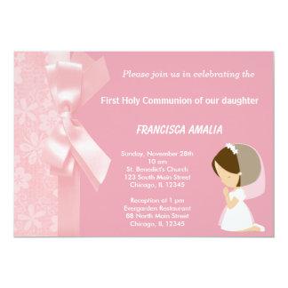 Rosa Blumen-heilige Kommunion 12,7 X 17,8 Cm Einladungskarte