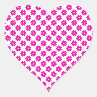Rosa Blumen - Herz-Aufkleber