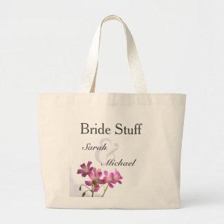Rosa Blumen-Hochzeits-Gang-Tasche Jumbo Stoffbeutel