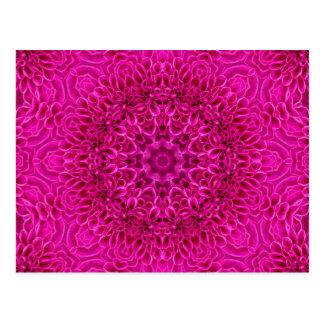 Rosa Blumen-Kaleidoskop-Postkarten Postkarte