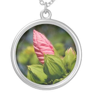 Rosa Blumen-Knospen-Foto-Silber überzogen ringsum Versilberte Kette