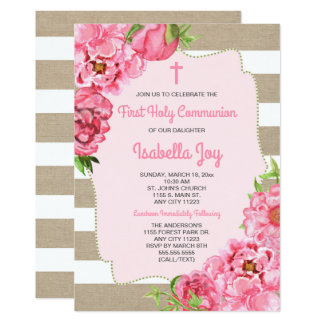 Rosa Blumen + Leinwand erste Kommunion laden ein Karte