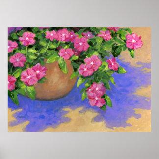 "Rosa Blumen, ""lila Schatten"" - Poster"