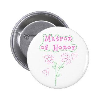 Rosa Blumen-Matrone der Ehre Runder Button 5,1 Cm