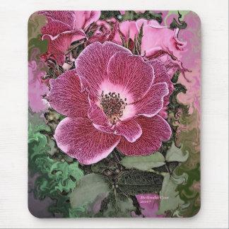 Rosa Blumen-Mausunterlage gemalt durch kunstvolle Mauspad
