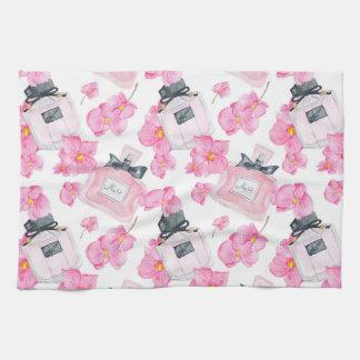 Rosa Blumen-Mode Parfume Geschirrtuch