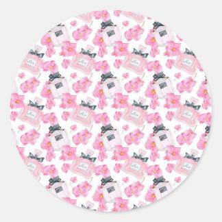 Rosa Blumen-Mode Parfume Runder Aufkleber