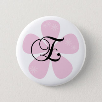 Rosa Blumen-Monogramm E Runder Button 5,7 Cm