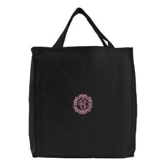 Rosa Blumen-Monogramm-Initialen-Taschen-Tasche