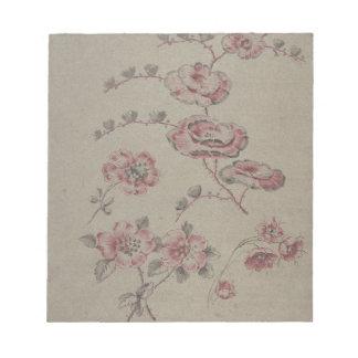 Rosa Blumen-Muster - Franzosen Notizblock