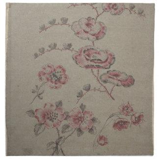 Rosa Blumen-Muster - Franzosen Serviette