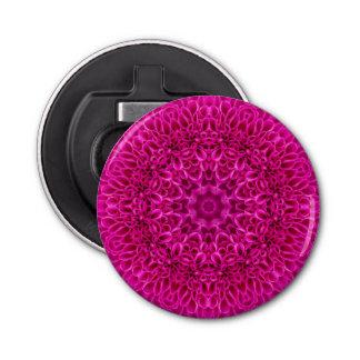 Rosa Blumen-Muster-magnetischer runde Runder Flaschenöffner