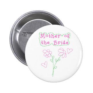 Rosa Blumen-Mutter der Braut Runder Button 5,1 Cm