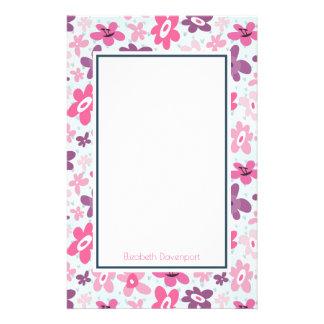 Rosa Blumen-niedliches wunderliches Muster Briefpapier