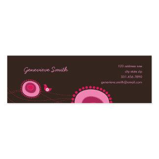 Rosa Blumen-Punkte und glückliche Visitenkarten