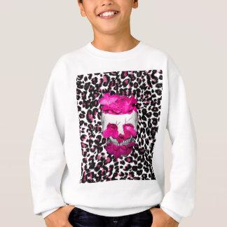 Rosa Blumen-Schädel auf rosa Leopard-Stellen Sweatshirt