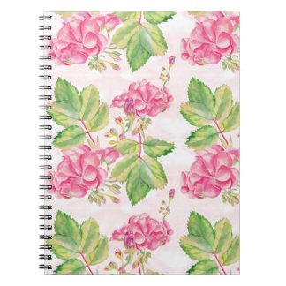 Rosa Blumen Spiral Notizblock