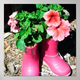 Rosa Blumen-Stiefel-Karte Poster