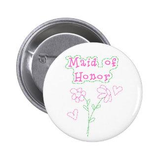 Rosa Blumen-Trauzeugin Runder Button 5,7 Cm