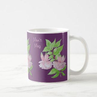 Rosa Blumen und Blatt entwerfen ursprüngliche Kaffeetasse